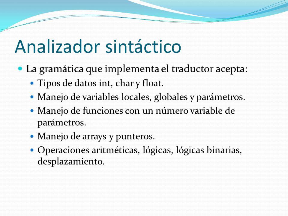 Analizador sintáctico La gramática que implementa el traductor acepta: Tipos de datos int, char y float.