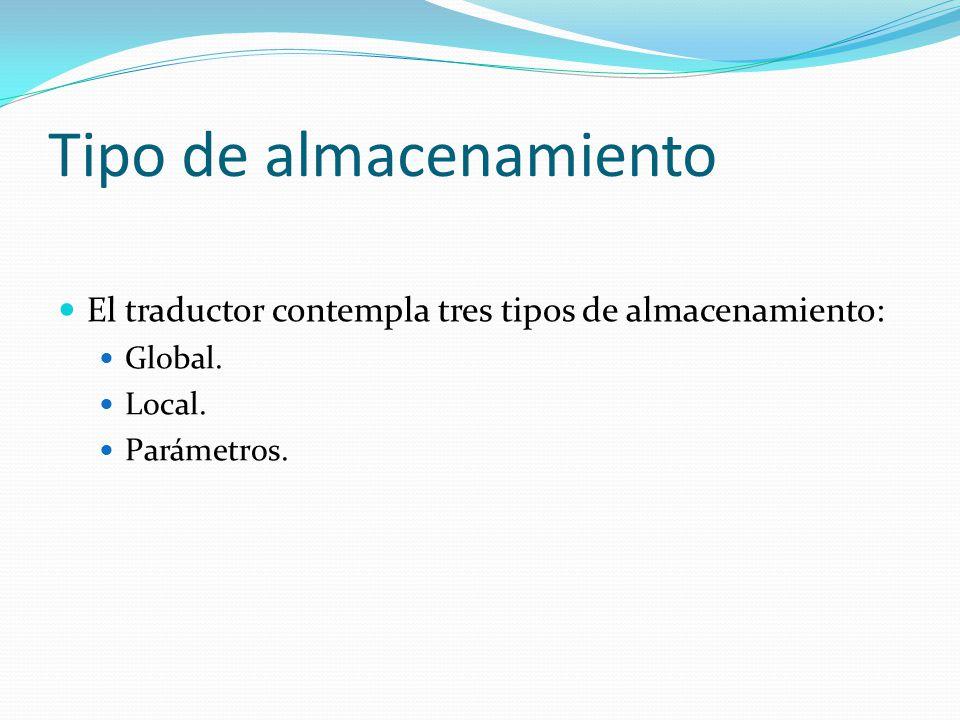 Tipo de almacenamiento El traductor contempla tres tipos de almacenamiento: Global.