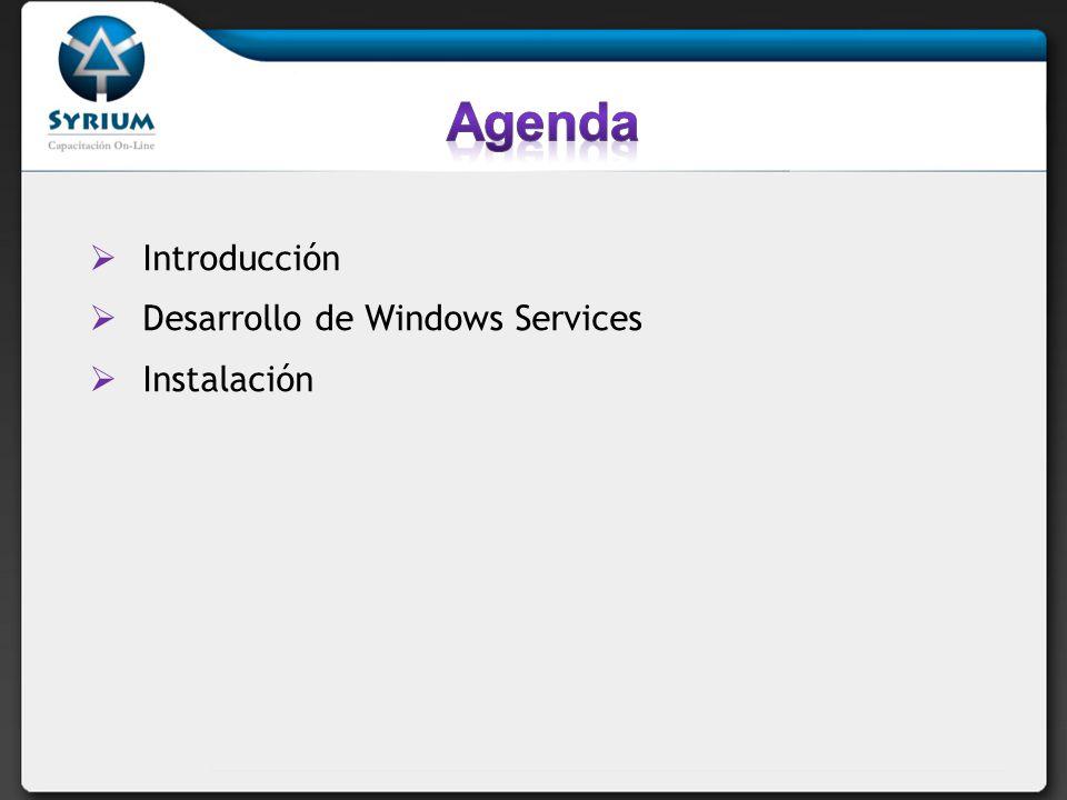 Servicio del sistema operativo Windows provee una consola que permite habilitar/deshabilitar, iniciar/detener/pausar También se pueden fijar la opciones de inicio del servicio Manual Automática Sin interacción con usuario