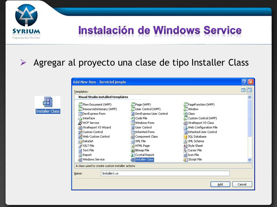 [RunInstaller(true)] public partial class InstalacionServicio : Installer { private ServiceInstaller serviceInstaller; private ServiceProcessInstaller processInstaller; public InstalacionServicio() { InitializeComponent(); processInstaller = new ServiceProcessInstaller(); serviceInstaller = new ServiceInstaller(); //processInstaller.Account = // System.ServiceProcess.ServiceAccount.User; processInstaller.Account = ServiceAccount.LocalSystem; serviceInstaller.StartType = ServiceStartMode.Automatic; serviceInstaller.ServiceName = MiServicio ; Installers.Add(serviceInstaller); Installers.Add(processInstaller); }
