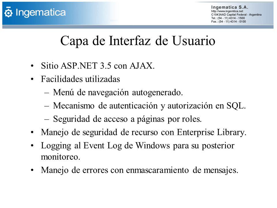 Capa de Interfaz de Usuario Sitio ASP.NET 3.5 con AJAX. Facilidades utilizadas –Menú de navegación autogenerado. –Mecanismo de autenticación y autoriz
