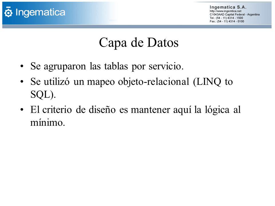 Capa de Datos Se agruparon las tablas por servicio. Se utilizó un mapeo objeto-relacional (LINQ to SQL). El criterio de diseño es mantener aquí la lóg