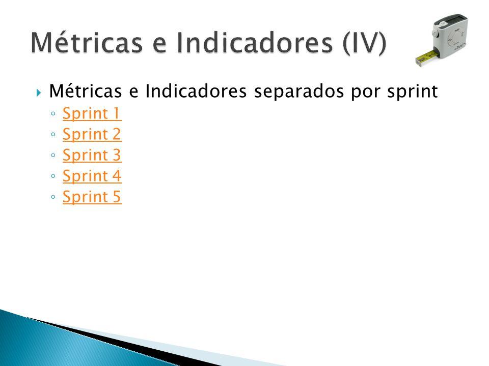 Métricas e Indicadores separados por sprint Sprint 1 Sprint 2 Sprint 3 Sprint 4 Sprint 5