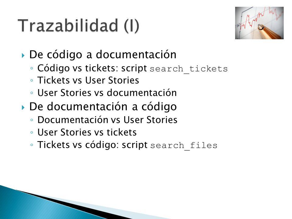 De código a documentación Código vs tickets: script search_tickets Tickets vs User Stories User Stories vs documentación De documentación a código Doc