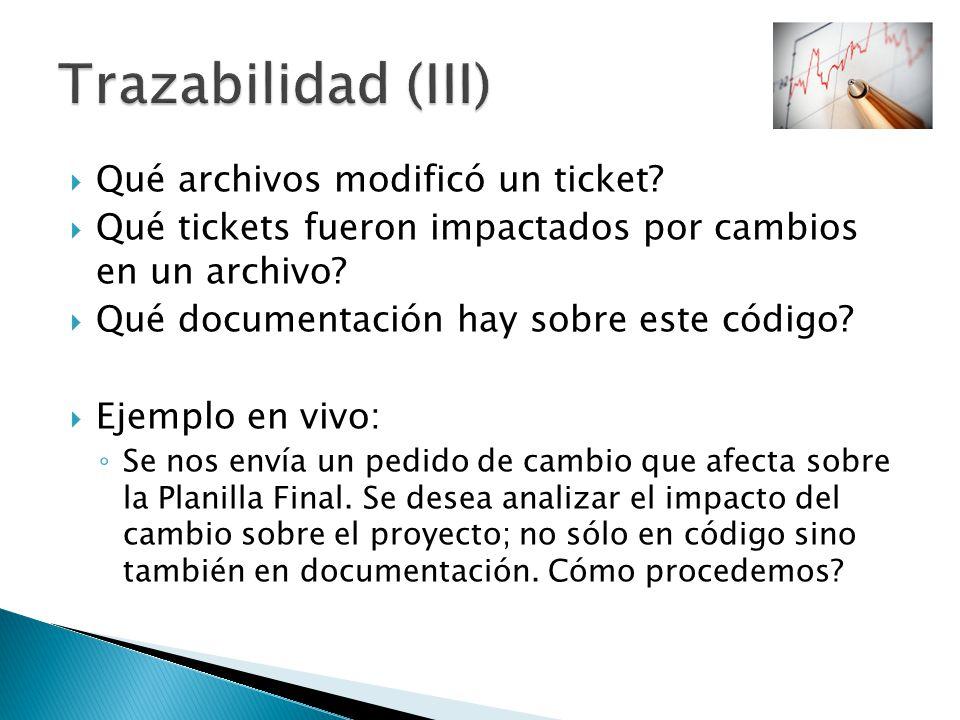 Qué archivos modificó un ticket? Qué tickets fueron impactados por cambios en un archivo? Qué documentación hay sobre este código? Ejemplo en vivo: Se