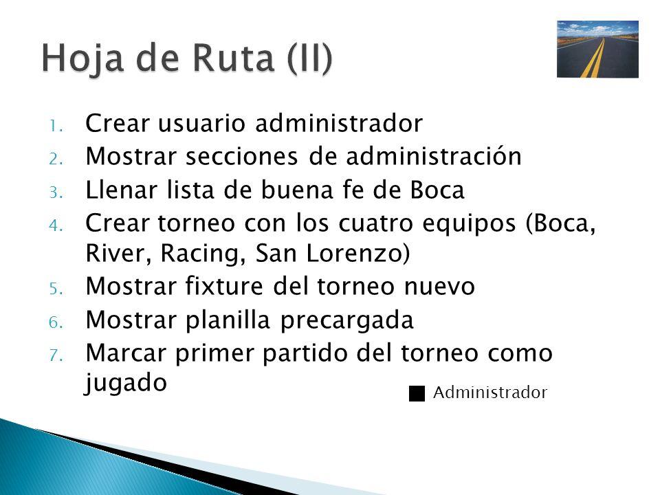 1.Crear usuario administrador 2. Mostrar secciones de administración 3.