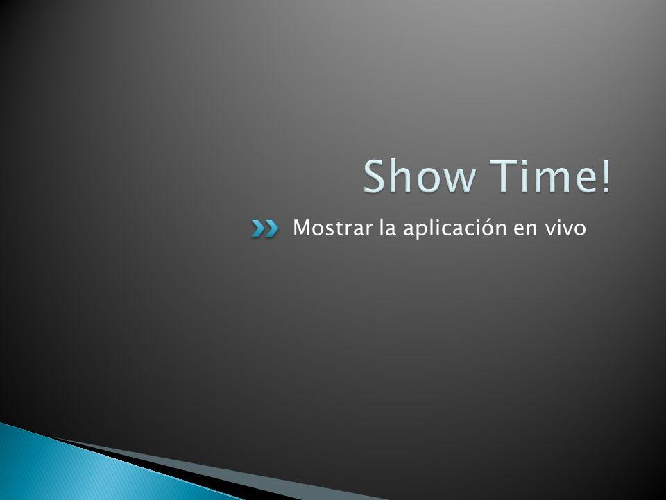 Mostrar la aplicación en vivo
