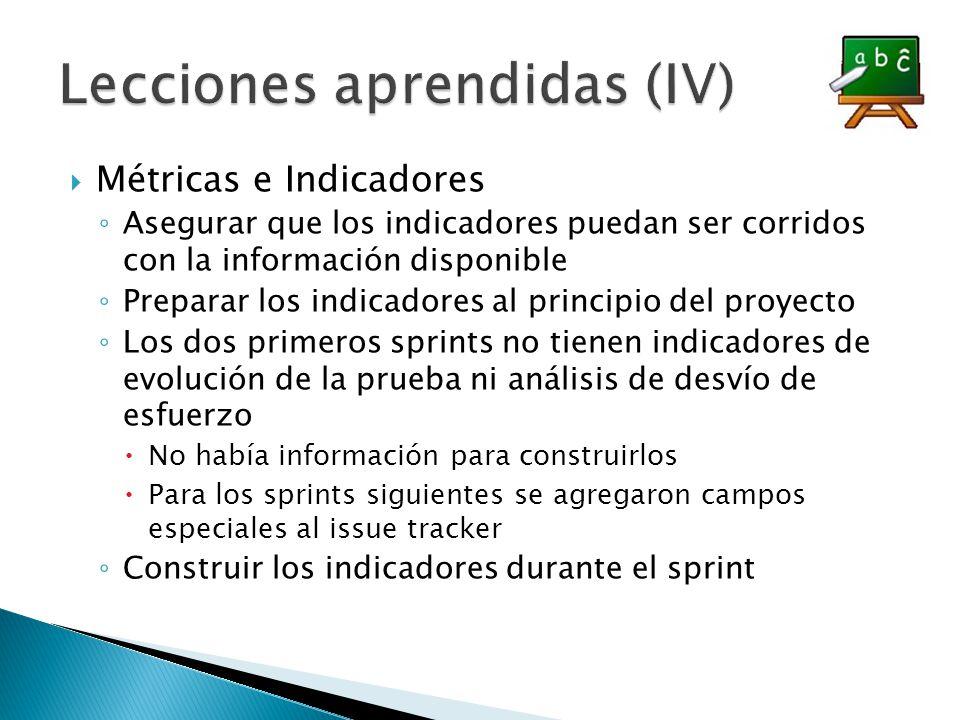 Métricas e Indicadores Asegurar que los indicadores puedan ser corridos con la información disponible Preparar los indicadores al principio del proyec
