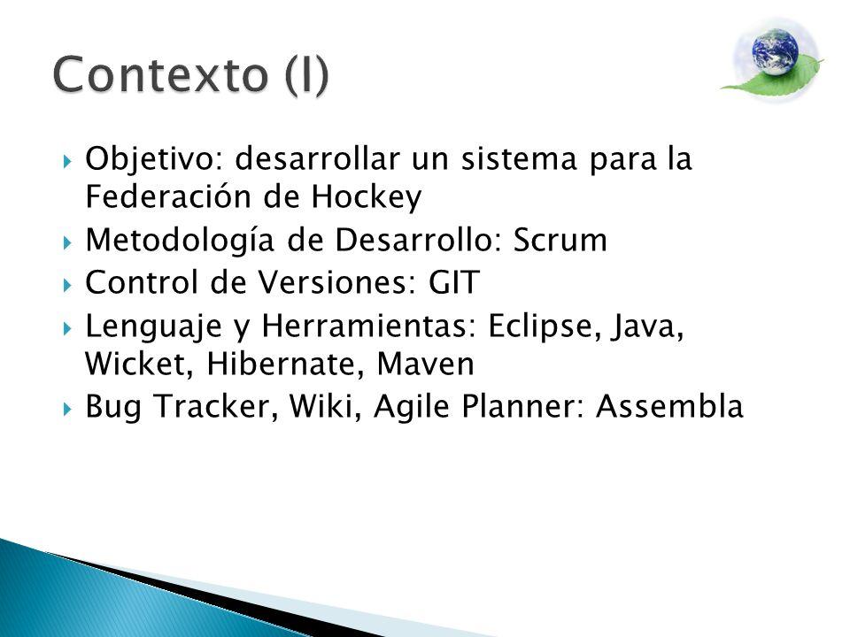 Objetivo: desarrollar un sistema para la Federación de Hockey Metodología de Desarrollo: Scrum Control de Versiones: GIT Lenguaje y Herramientas: Eclipse, Java, Wicket, Hibernate, Maven Bug Tracker, Wiki, Agile Planner: Assembla