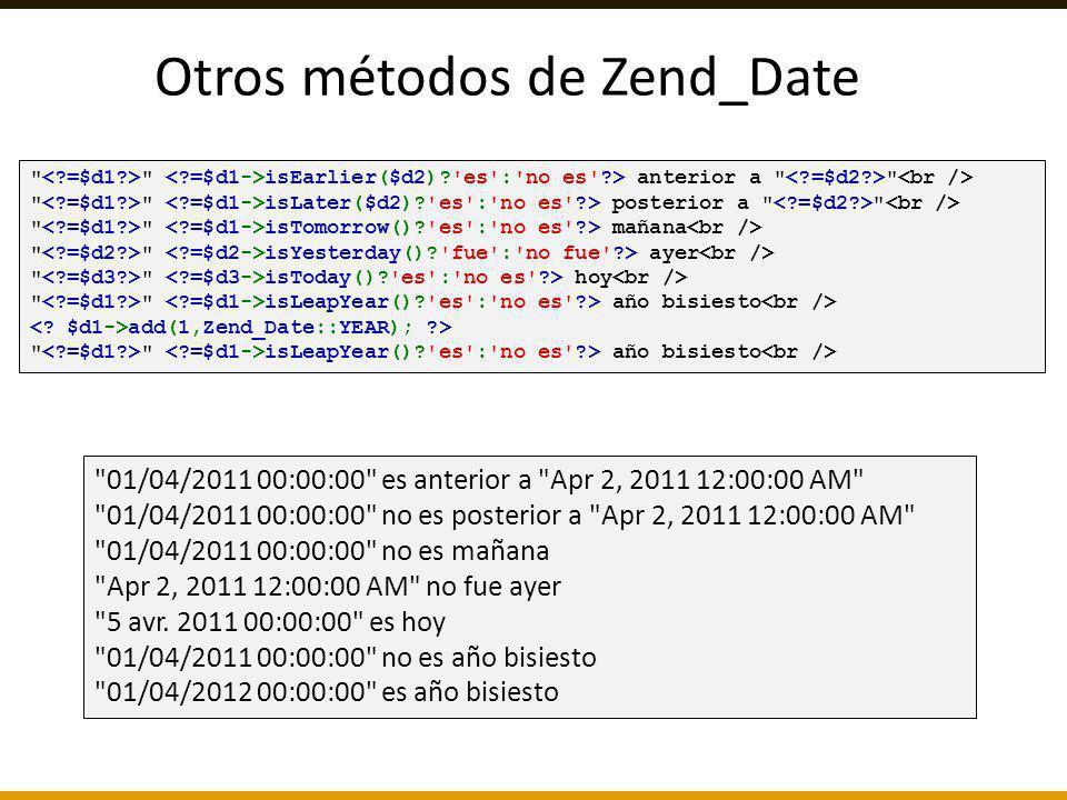 Otros métodos de Zend_Date