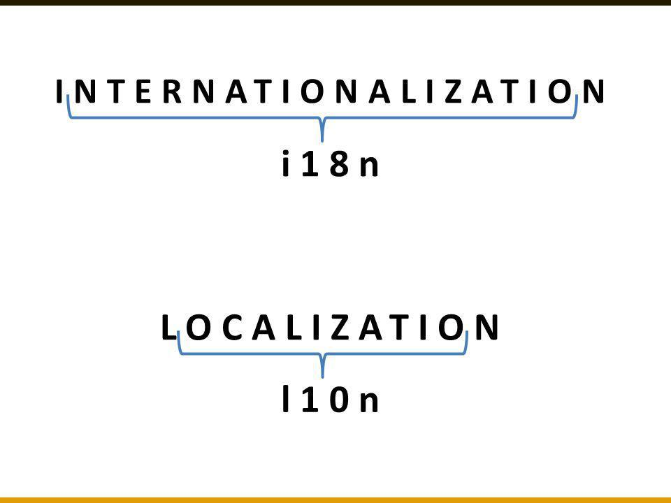 INTERNATIONALIZATION i18n LOCALIZATION l10n