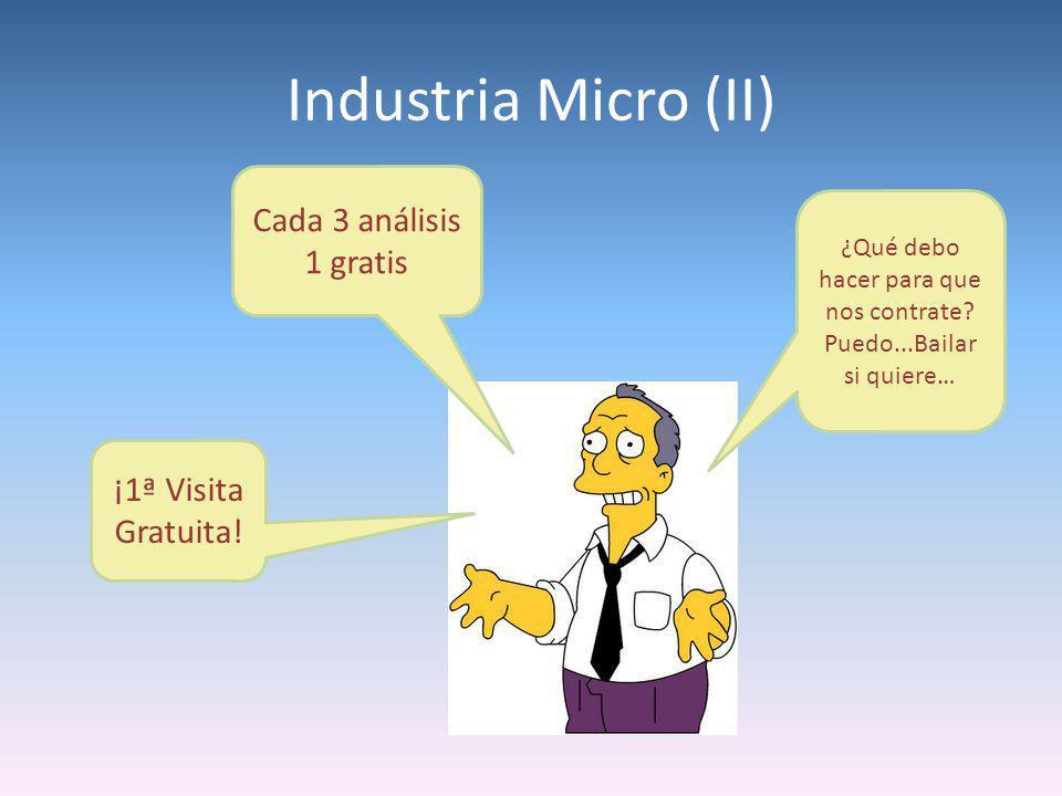 Industria Micro (II) ¡1ª Visita Gratuita! Cada 3 análisis 1 gratis ¿Qué debo hacer para que nos contrate? Puedo...Bailar si quiere…