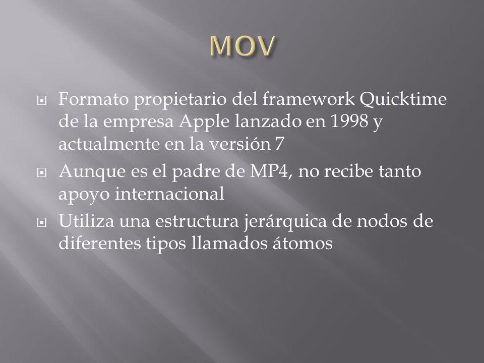 Formato propietario del framework Quicktime de la empresa Apple lanzado en 1998 y actualmente en la versión 7 Aunque es el padre de MP4, no recibe tanto apoyo internacional Utiliza una estructura jerárquica de nodos de diferentes tipos llamados átomos