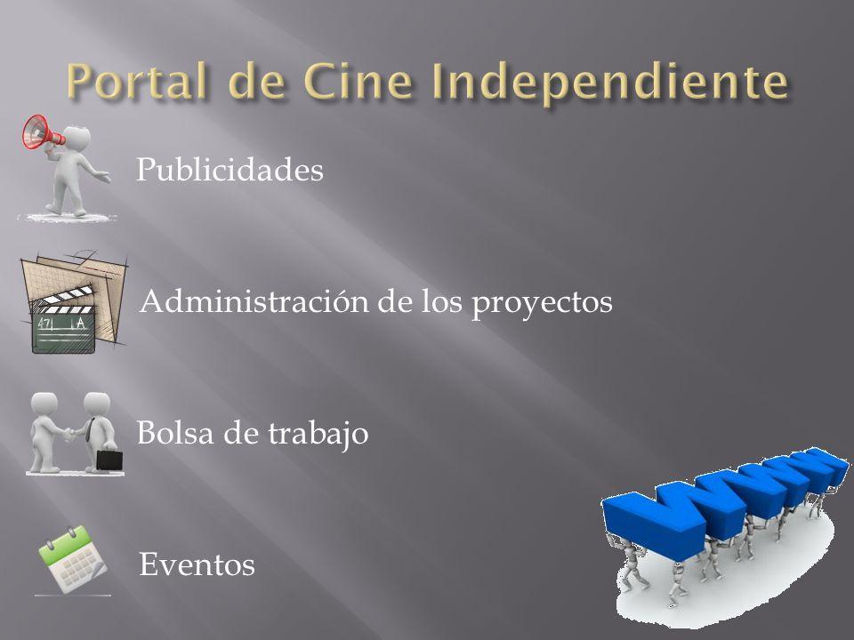 Publicidades Administración de los proyectos Bolsa de trabajo Eventos