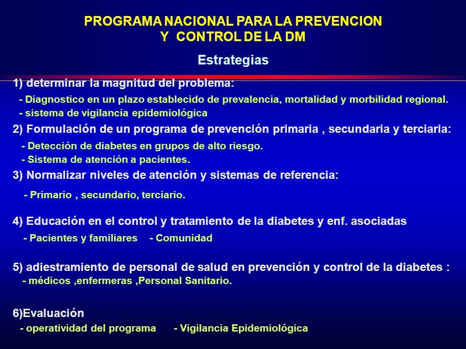 1) determinar la magnitud del problema: 2) Formulación de un programa de prevención primaria, secundaria y terciaria: 3) Normalizar niveles de atención y sistemas de referencia: 4) Educación en el control y tratamiento de la diabetes y enf.
