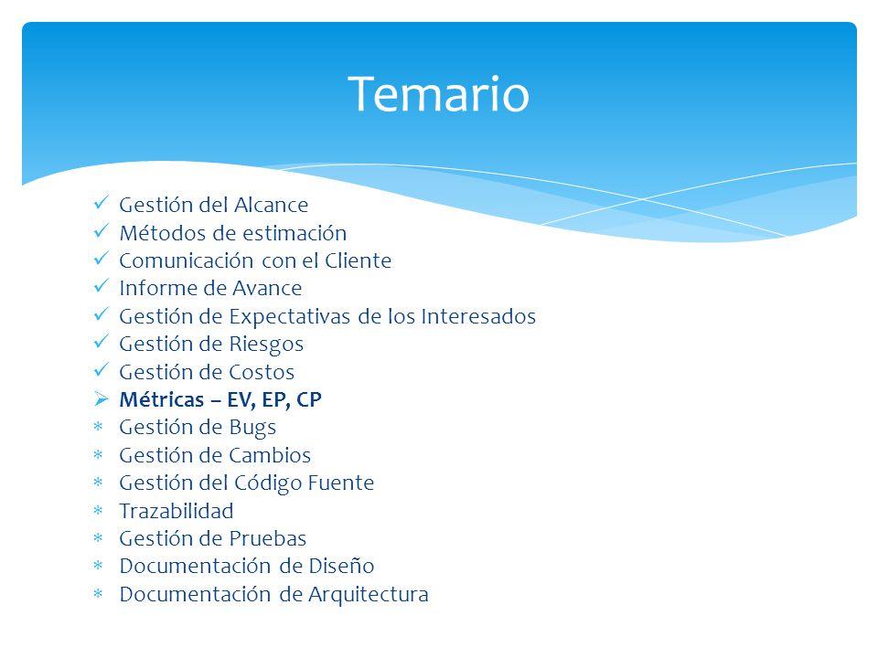 Gestión del Alcance Métodos de estimación Comunicación con el Cliente Informe de Avance Gestión de Expectativas de los Interesados Gestión de Riesgos