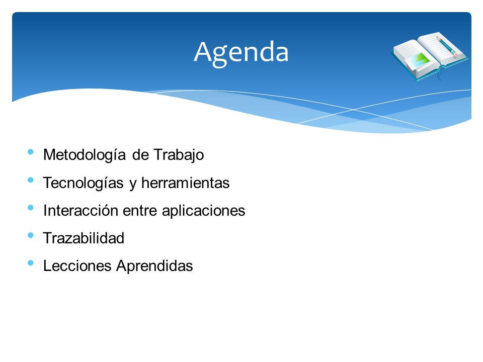 Agenda Metodología de Trabajo Tecnologías y herramientas Interacción entre aplicaciones Trazabilidad Lecciones Aprendidas