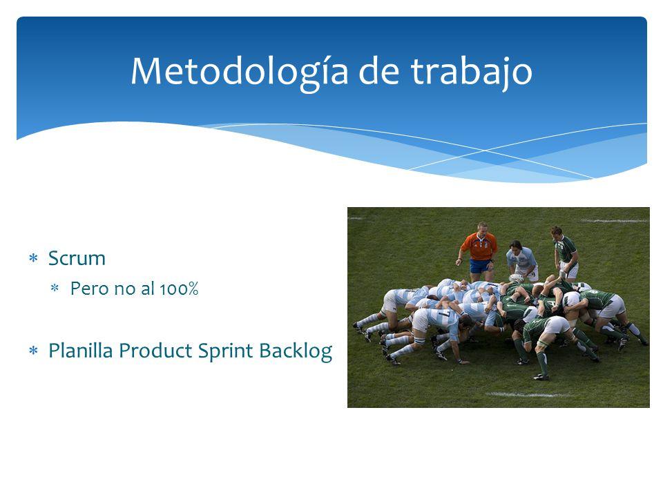 Metodología de trabajo Scrum Pero no al 100% Planilla Product Sprint Backlog