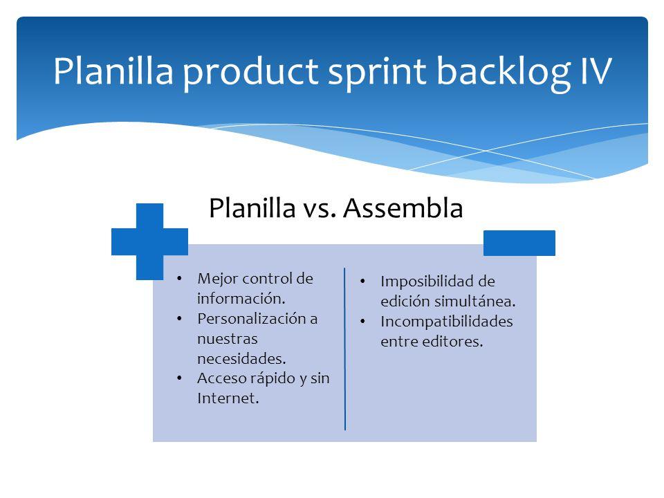 Planilla product sprint backlog IV Mejor control de información. Personalización a nuestras necesidades. Acceso rápido y sin Internet. Imposibilidad d