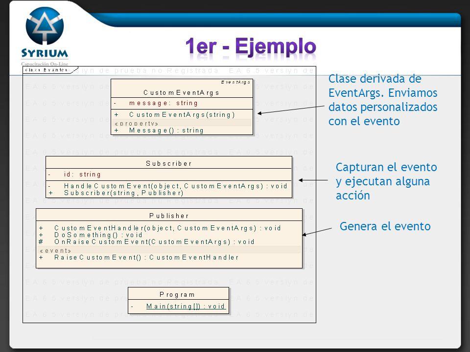 Clase derivada de EventArgs. Enviamos datos personalizados con el evento Capturan el evento y ejecutan alguna acción Genera el evento