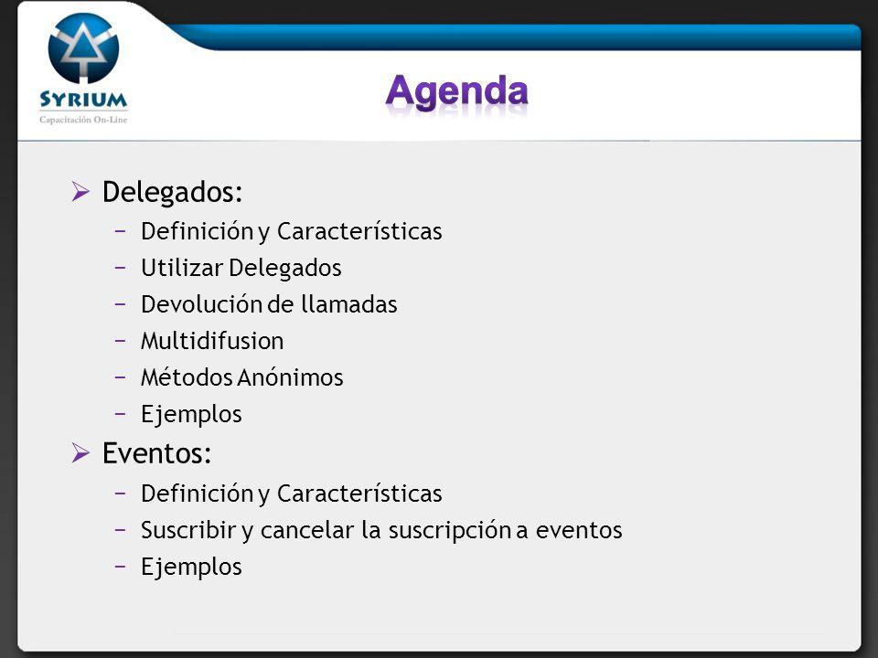 Delegados: Definición y Características Utilizar Delegados Devolución de llamadas Multidifusion Métodos Anónimos Ejemplos Eventos: Definición y Caract