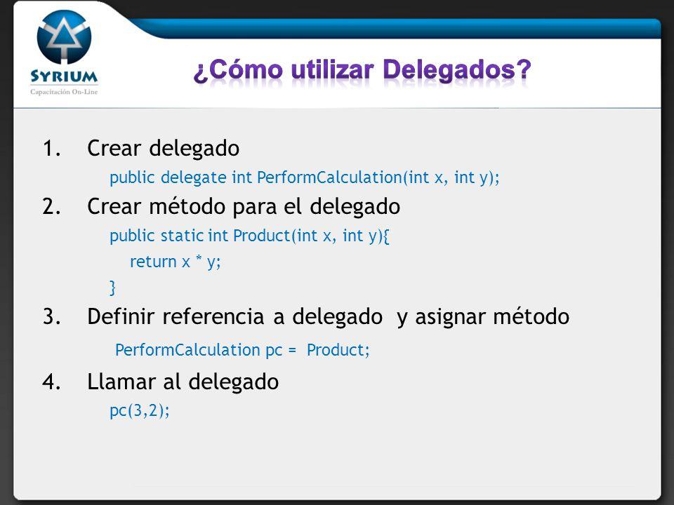 1.Crear delegado public delegate int PerformCalculation(int x, int y); 2.Crear método para el delegado public static int Product(int x, int y){ return