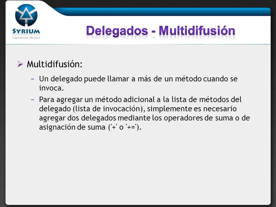 Multidifusión: Un delegado puede llamar a más de un método cuando se invoca. Para agregar un método adicional a la lista de métodos del delegado (list