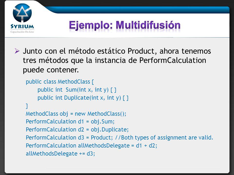 Junto con el método estático Product, ahora tenemos tres métodos que la instancia de PerformCalculation puede contener. public class MethodClass { pub