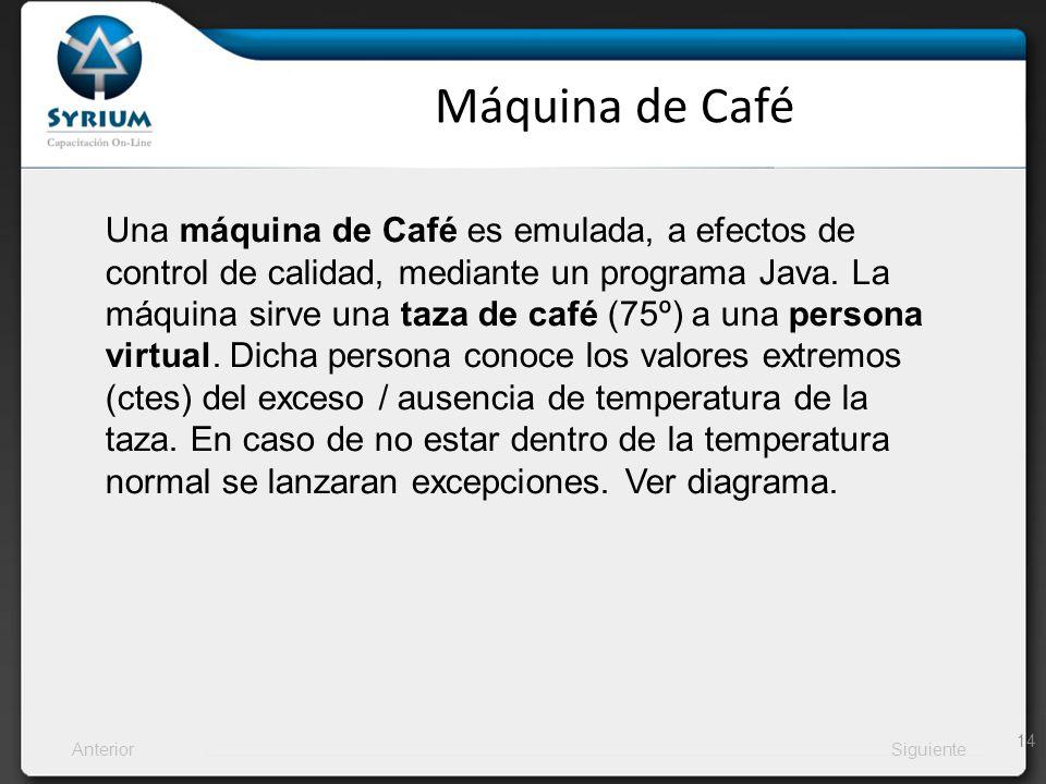 AnteriorSiguiente Máquina de Café 14 Una máquina de Café es emulada, a efectos de control de calidad, mediante un programa Java. La máquina sirve una