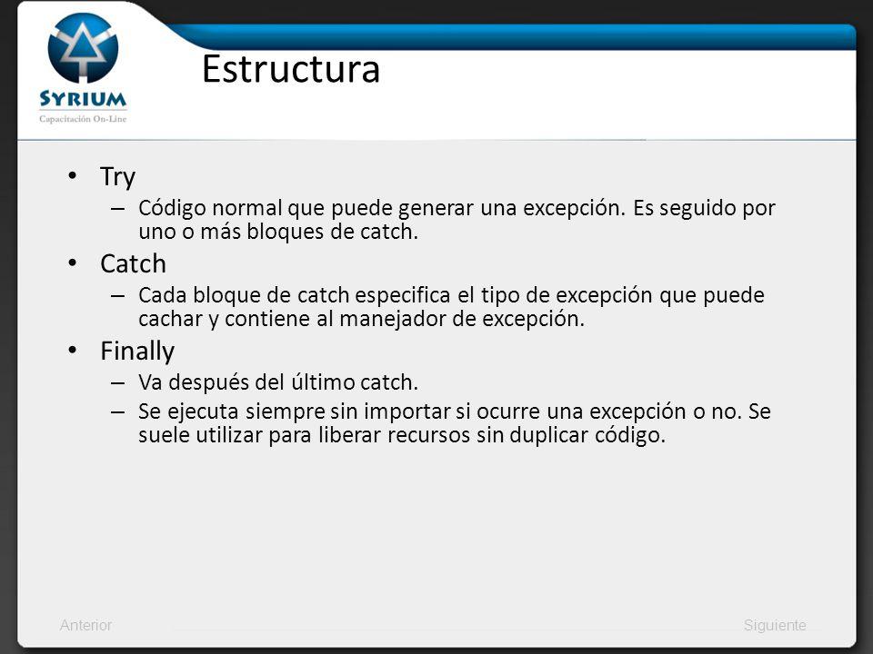 AnteriorSiguiente Ejemplo – Excepciones propias Public void Metodo(){ try{ number1=Int32.Parse(input1.getText()) number2=Int32.Parse(input2.getText()) result=number1/ number2 Console.WriteLine(Resultado:+result) } catch (NumberFormatException e1){ Console.WriteLine(Teclee dos numeros enteros) } catch (DivideByZeroExcepcion e2){ Console.WriteLine(Error al dividir por cero) }