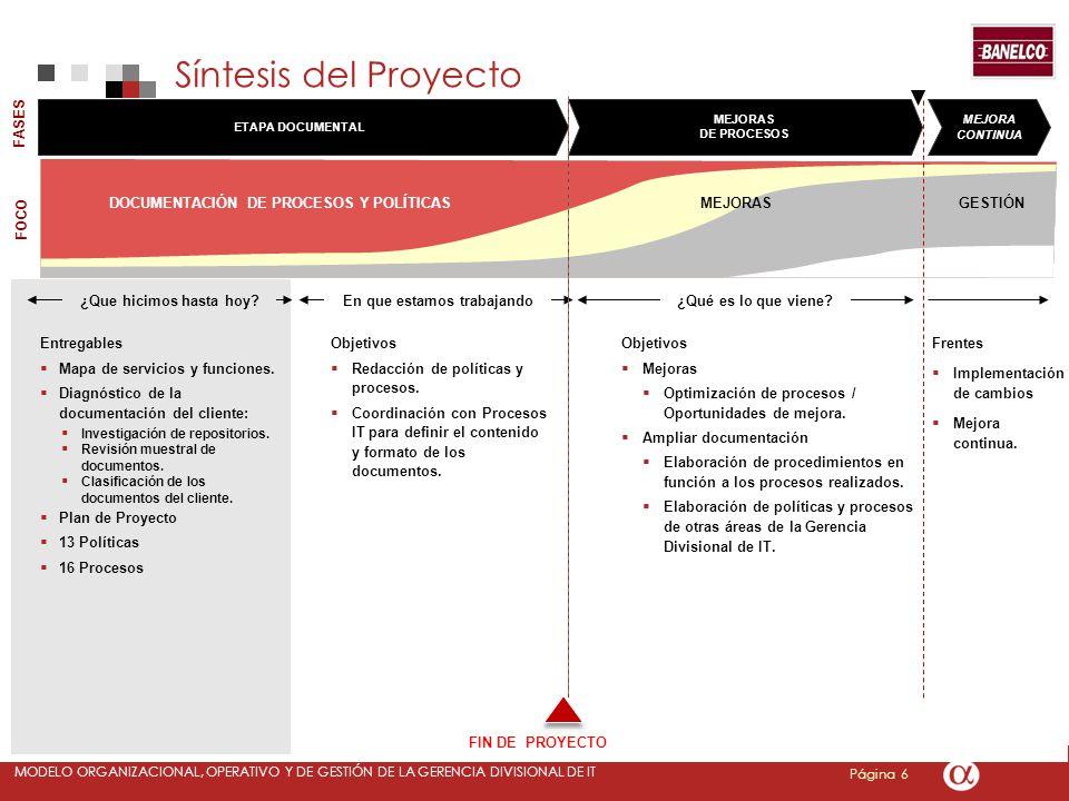 Página 6 MODELO ORGANIZACIONAL, OPERATIVO Y DE GESTIÓN DE LA GERENCIA DIVISIONAL DE IT Objetivos Mejoras Optimización de procesos / Oportunidades de m