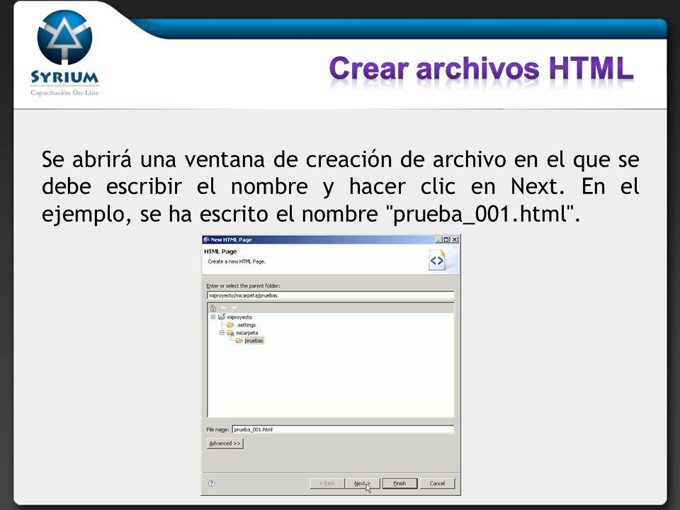 En la segunda pantalla se debe elegir el tipo de documento HTML y hacer clic en Finish.