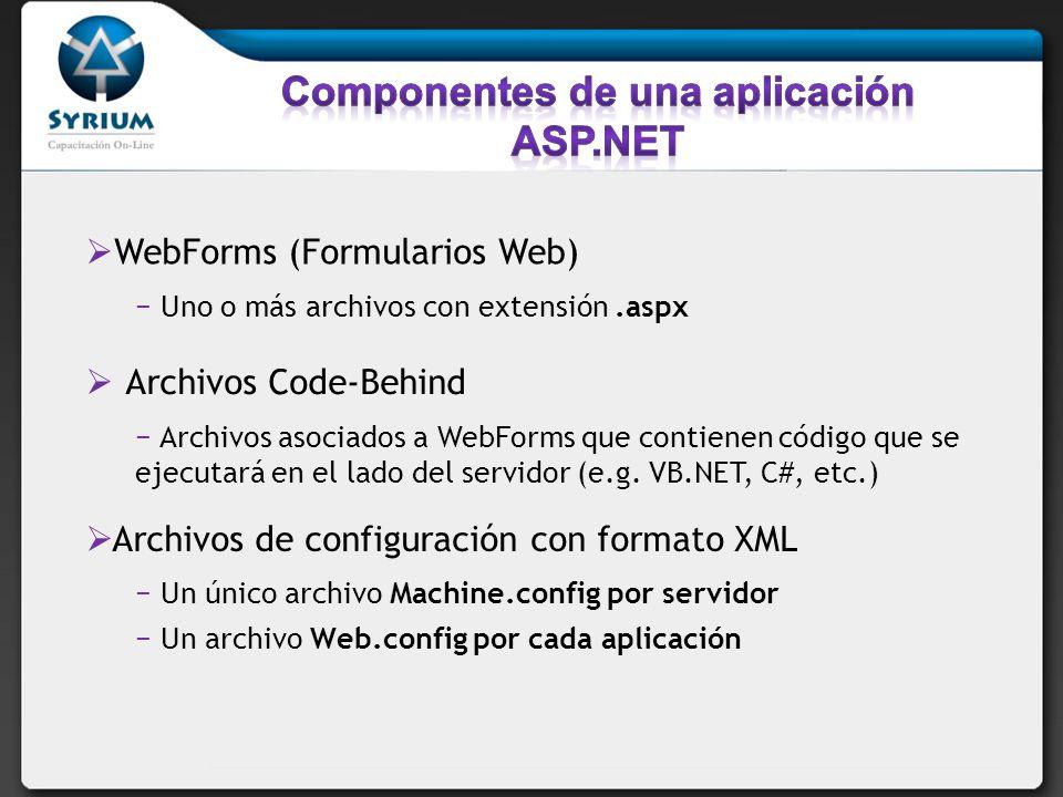 WebForms (Formularios Web) Uno o más archivos con extensión.aspx Archivos Code-Behind Archivos asociados a WebForms que contienen código que se ejecutará en el lado del servidor (e.g.