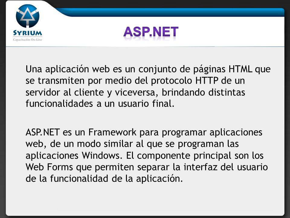Una aplicación web es un conjunto de páginas HTML que se transmiten por medio del protocolo HTTP de un servidor al cliente y viceversa, brindando distintas funcionalidades a un usuario final.