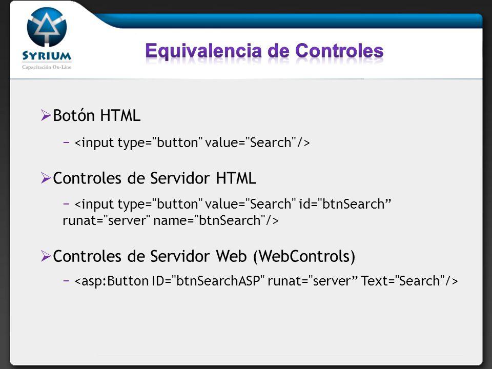 Botón HTML Controles de Servidor HTML Controles de Servidor Web (WebControls)