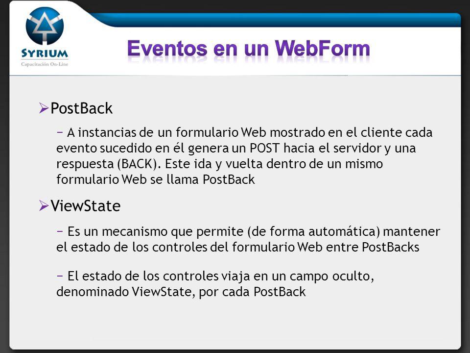 PostBack A instancias de un formulario Web mostrado en el cliente cada evento sucedido en él genera un POST hacia el servidor y una respuesta (BACK).