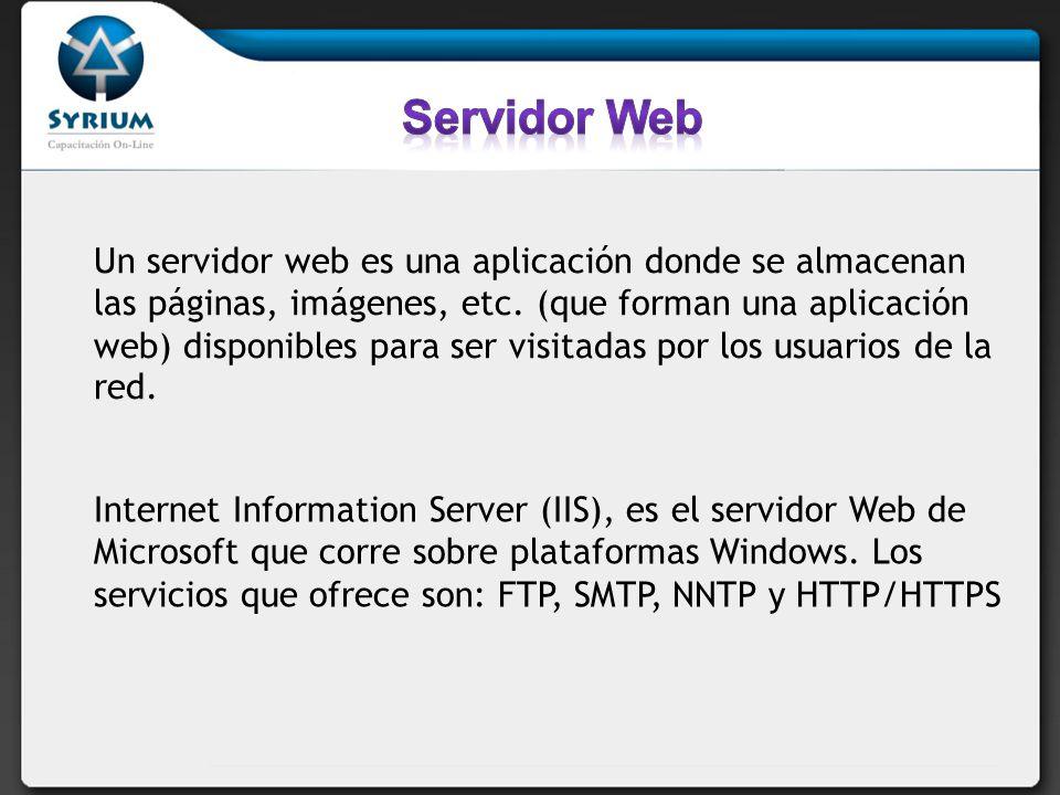 Un servidor web es una aplicación donde se almacenan las páginas, imágenes, etc.