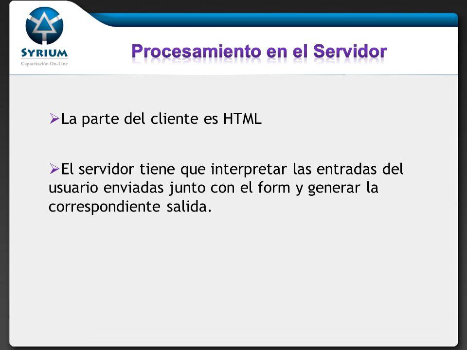 El servidor tiene que interpretar las entradas del usuario enviadas junto con el form y generar la correspondiente salida.
