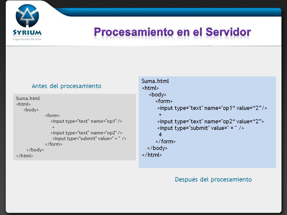 Suma.html + Antes del procesamiento Suma.html + 4 Después del procesamiento
