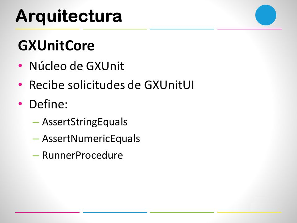 Arquitectura GXUnitCore Núcleo de GXUnit Recibe solicitudes de GXUnitUI Define: – AssertStringEquals – AssertNumericEquals – RunnerProcedure