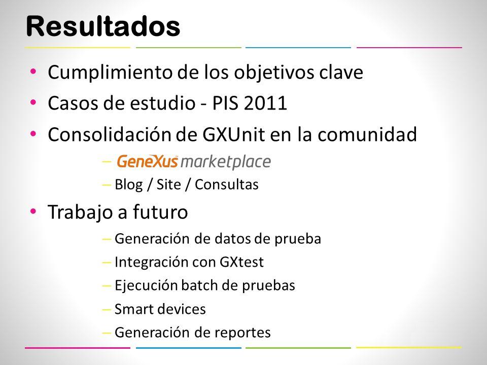 Resultados Cumplimiento de los objetivos clave Casos de estudio - PIS 2011 Consolidación de GXUnit en la comunidad – a – Blog / Site / Consultas Trabajo a futuro – Generación de datos de prueba – Integración con GXtest – Ejecución batch de pruebas – Smart devices – Generación de reportes