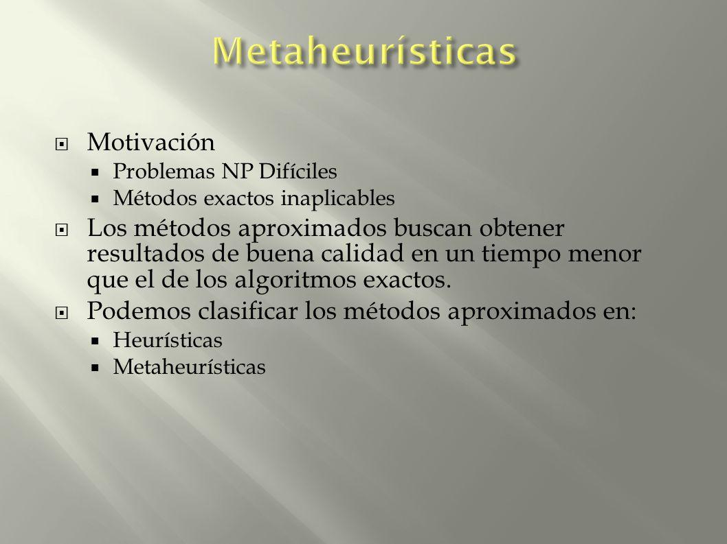 Motivación Problemas NP Difíciles Métodos exactos inaplicables Los métodos aproximados buscan obtener resultados de buena calidad en un tiempo menor q