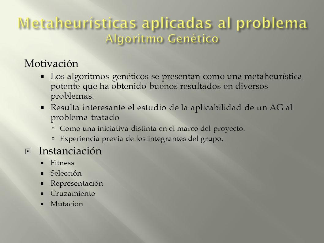 Motivación Los algoritmos genéticos se presentan como una metaheurística potente que ha obtenido buenos resultados en diversos problemas. Resulta inte