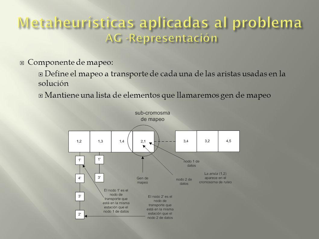 Componente de mapeo: Define el mapeo a transporte de cada una de las aristas usadas en la solución Mantiene una lista de elementos que llamaremos gen de mapeo