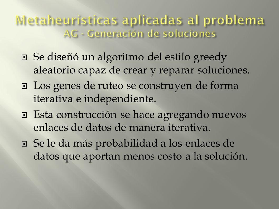 Se diseñó un algoritmo del estilo greedy aleatorio capaz de crear y reparar soluciones. Los genes de ruteo se construyen de forma iterativa e independ