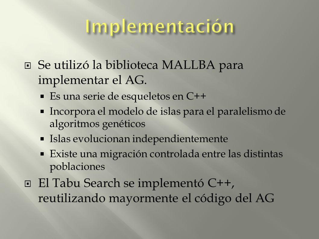 Se utilizó la biblioteca MALLBA para implementar el AG. Es una serie de esqueletos en C++ Incorpora el modelo de islas para el paralelismo de algoritm