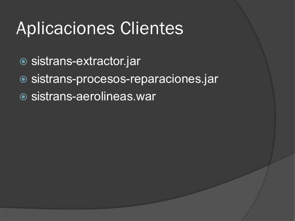 Aplicaciones Clientes sistrans-extractor.jar sistrans-procesos-reparaciones.jar sistrans-aerolineas.war