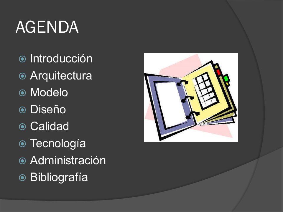 AGENDA Introducción Arquitectura Modelo Diseño Calidad Tecnología Administración Bibliografía