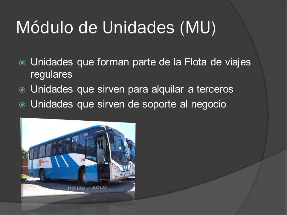 Módulo de Unidades (MU) Unidades que forman parte de la Flota de viajes regulares Unidades que sirven para alquilar a terceros Unidades que sirven de soporte al negocio