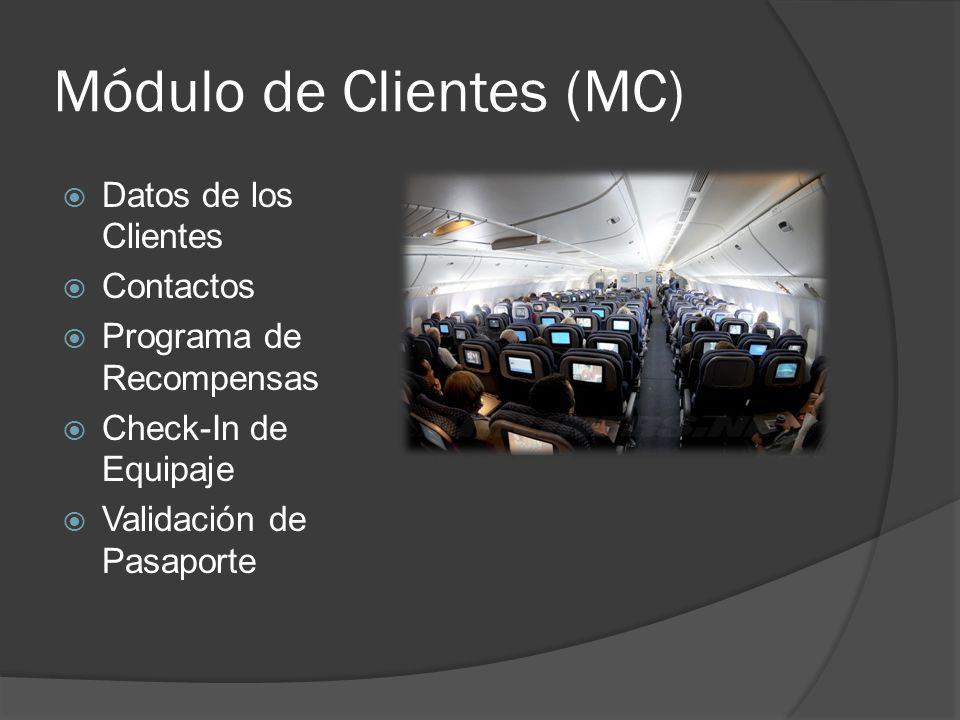 Módulo de Clientes (MC) Datos de los Clientes Contactos Programa de Recompensas Check-In de Equipaje Validación de Pasaporte
